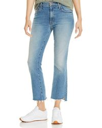 Mother Insider Step Hem Cropped Flared Jeans In Shoot To Thrill - Blue