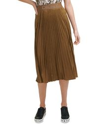 DKNY Pleated Faux Suede Midi Skirt - Brown