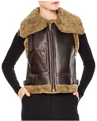 Sandro - Salome Real Lamb Shearling & Leather Vest - Lyst