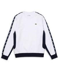 Lacoste Colorblock Fleece Crewneck Sweatshirt - White