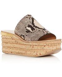 Chloé Chloé Camille Python Embossed Platform Sandal - Brown