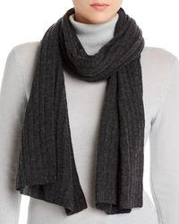 Aqua Cashmere Rib - Knit Cashmere Scarf - Grey