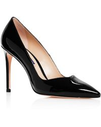 Stuart Weitzman Anny Pointed - Toe Curved Court Shoes - Black