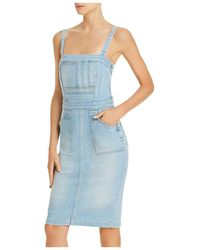 Mother Pocket Hustler Denim Overall Dress - Blue