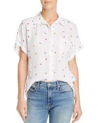 Aqua Beach Print Shirt - White