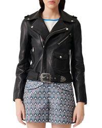 Maje Bocel Leather Moto Jacket - Black