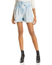 IRO Trab Cotton Belted Denim Shorts In Blue Shade