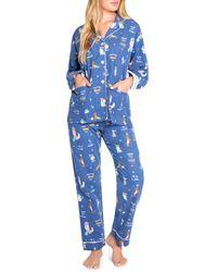Pj Salvage Printed Flannel Pyjama Set - Blue