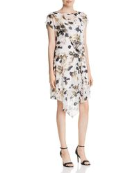 Kenneth Cole - Printed Asymmetric Gathered-front Dress - Lyst