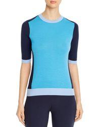 BOSS by Hugo Boss Franna Colorblock Short Sleeve Wool Jumper - Blue