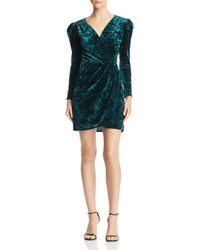 Aqua - Velvet Faux-wrap Dress - Lyst