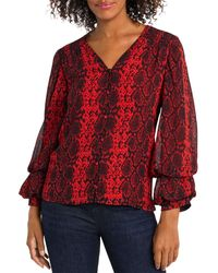 Vince Camuto - Snake Print Balloon Sleeve Top - Lyst
