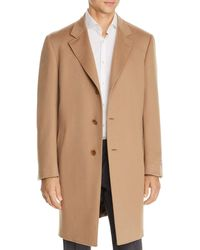 Canali Wool & Cashmere Classic Fit Overcoat - Natural