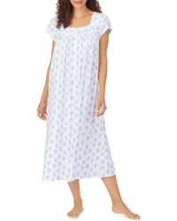 Eileen West Cotton Floral Print Eyelet Lace Ballet Nightgown - Blue
