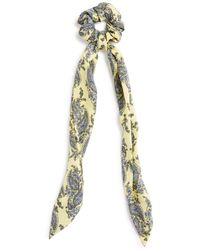 Aqua Paisley Tie Detail Scrunchie - Yellow
