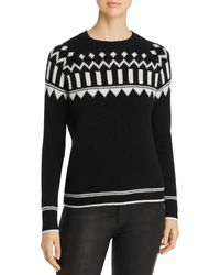 C By Bloomingdale's Fair Isle Cashmere Sweater - Black
