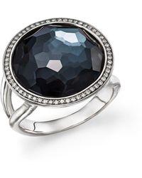 Ippolita - Stella Lollipop Ring In Hematite Doublet With Diamonds In Sterling Silver - Lyst