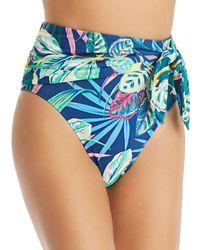 Bleu Rod Beattie High - Waist Tie Draped Bikini Bottom - Blue