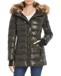 Aqua - Faux Fur-trim Hooded Puffer Jacket - Lyst
