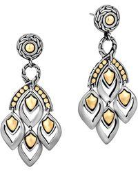 "John Hardy - ""naga"" Gold And Silver Chandelier Earrings - Lyst"
