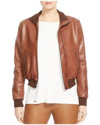 Halston Leather Bomber Jacket - Brown