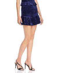 Aqua Smocked Velvet Mini Skirt - Blue