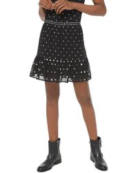 MICHAEL Michael Kors Studded Georgette Flounce Skirt - Black