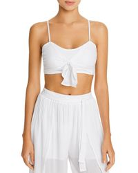 Aqua Swim Tie - Front Cropped Top Swim Cover - Up - White