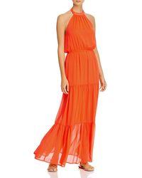 Aqua Halter Maxi Dress - Orange