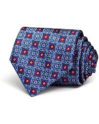 Canali Squares Florette Medallion Classic Tie - Blue