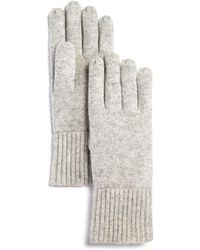 C By Bloomingdale's Chunky Rib - Trim Cashmere Gloves - Grey