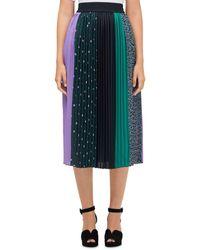 Kate Spade Pop Dots Pleated Mixed - Print Midi Skirt - Black