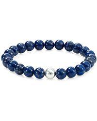 Aqua - Silver Beaded Stretch Bracelet - Lyst