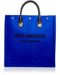 Saint Laurent Rive Gauche Wool Blend Tote - Blue