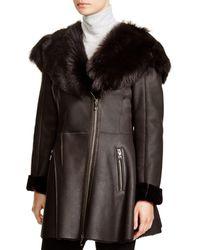 Maximilian Maximilian Shearling Coat With Toscana Shearling-trimmed Hood - Gray