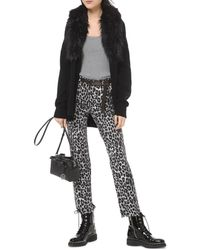 MICHAEL Michael Kors Faux Fur - Collar Cotton - Blend Cardigan - Black