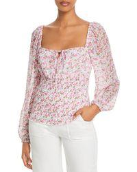 Aqua Ditsy Floral Long Sleeve Top - Pink