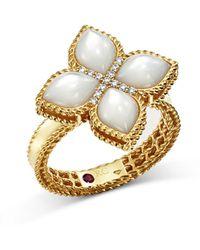 Roberto Coin 18k Yellow Gold Venetian Princess Mother - Of - Pearl & Diamond Ring - Metallic