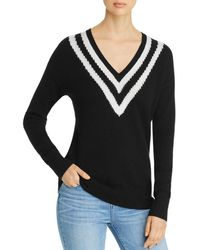 C By Bloomingdale's Varsity - Stripe Cashmere Sweater - Black
