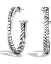 David Yurman - Crossover Medium Hoop Earrings With Diamonds - Lyst