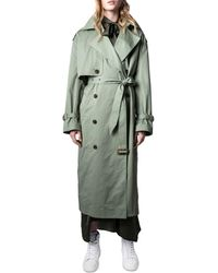 Zadig & Voltaire Kena Double Breasted Button Front Trench Coat - Green