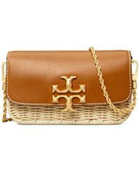 Tory Burch Eleanor Wicker & Leather Phone Crossbody Bag - Natural