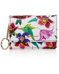 Ferragamo Logo Gusset Floral Print Leather Card Case - Multicolor