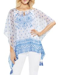 Vince Camuto - Sheer Medallion-print Poncho - Lyst