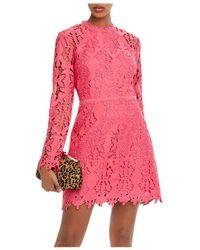 Aqua Cutwork Lace Sheath Dress - Pink