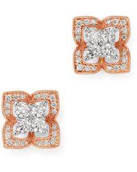 Bloomingdale's Diamond Clover Stud Earrings In 14k White & Rose Gold - Multicolour