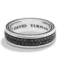 David Yurman - Streamline Two-row Band Ring With Black Diamonds - Lyst