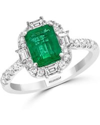 Bloomingdale's Emerald & Diamond Cocktail Ring In 14k White Gold - Green