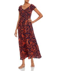Aqua Smocked Botanical Maxi Dress - Red