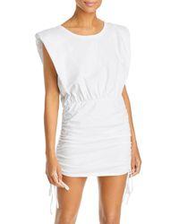 Bardot Toni Ruched Shoulder Pad Mini Dress - White